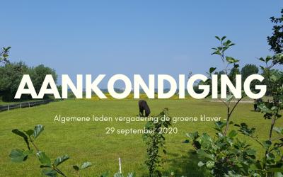 Aankondiging Algemene ledenvergadering – 29 september 2020