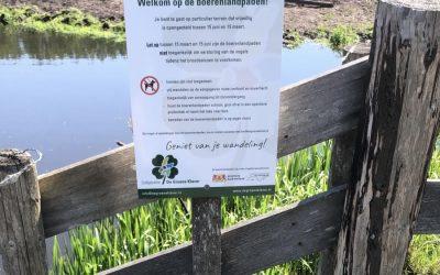 Boerenlandpaden weer geopend, wees voorzichtig onderweg